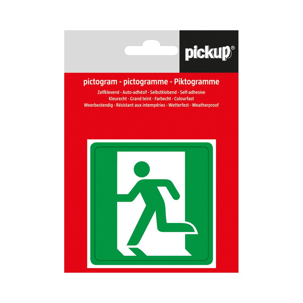 Pickup pictogram Aufkleber 7,5x7,5 cm Notausgang links