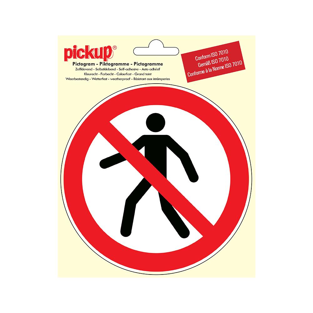 Pickup Pictogram rond diameter 15 cm - Verboden voor voetgangers