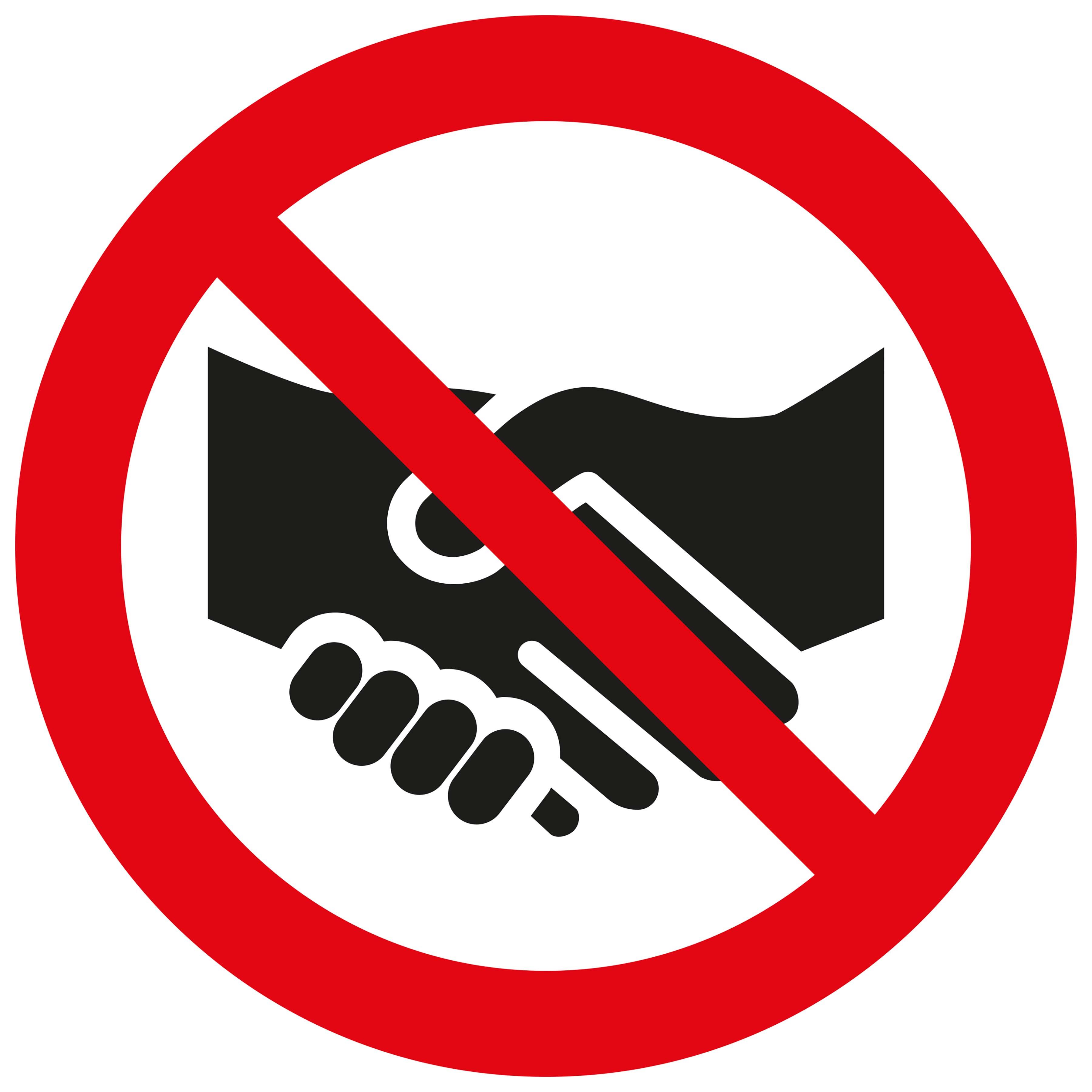 Sticker Wij geven u geen hand - We do not shake hands with you - Nous ne te serrons pas la main - Wir geben Ihnen nicht die Hand - social distance COVID19 COVID-19 corona virus