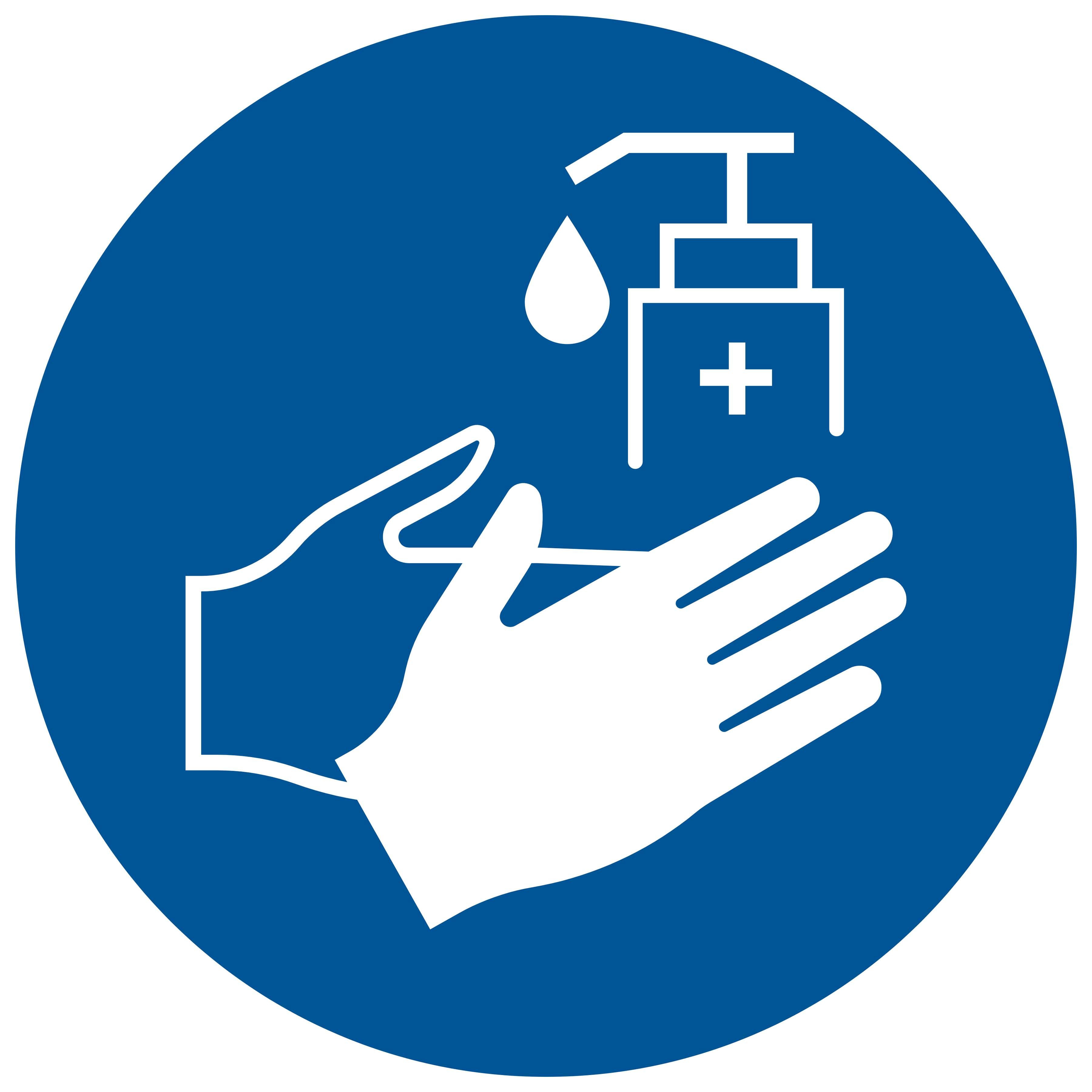 Pickup sticker Handen desinfecteren verplicht - Disinfect hands required - Désinfection des mains requise - Hände desinfizieren erforderlich - social distance