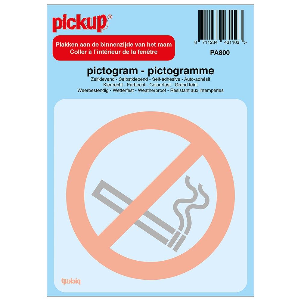 Pictogram achter glas 10x10cm - Verboden te roken