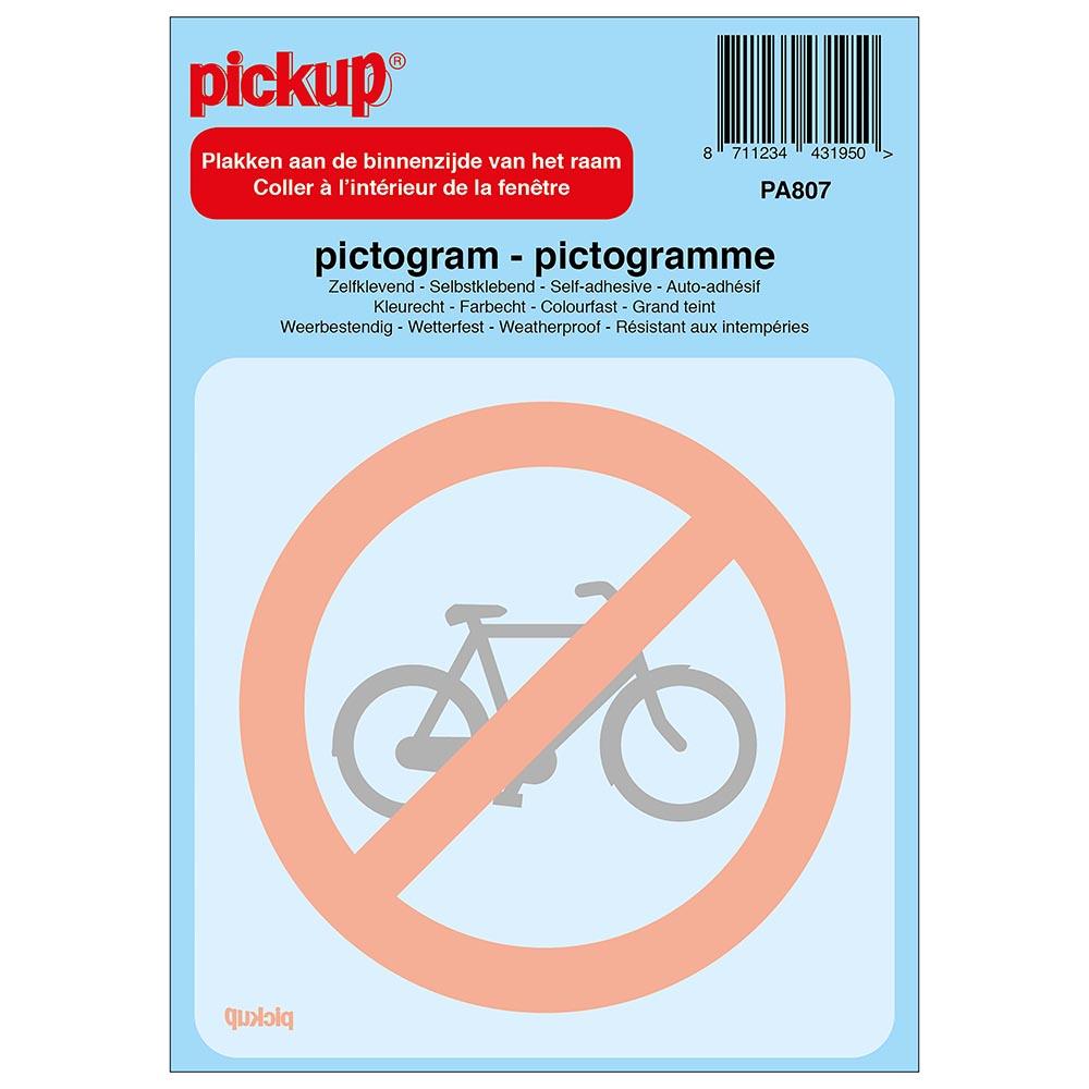 Pictogram achter glas 10x10cm - Verboden voor rijwielen