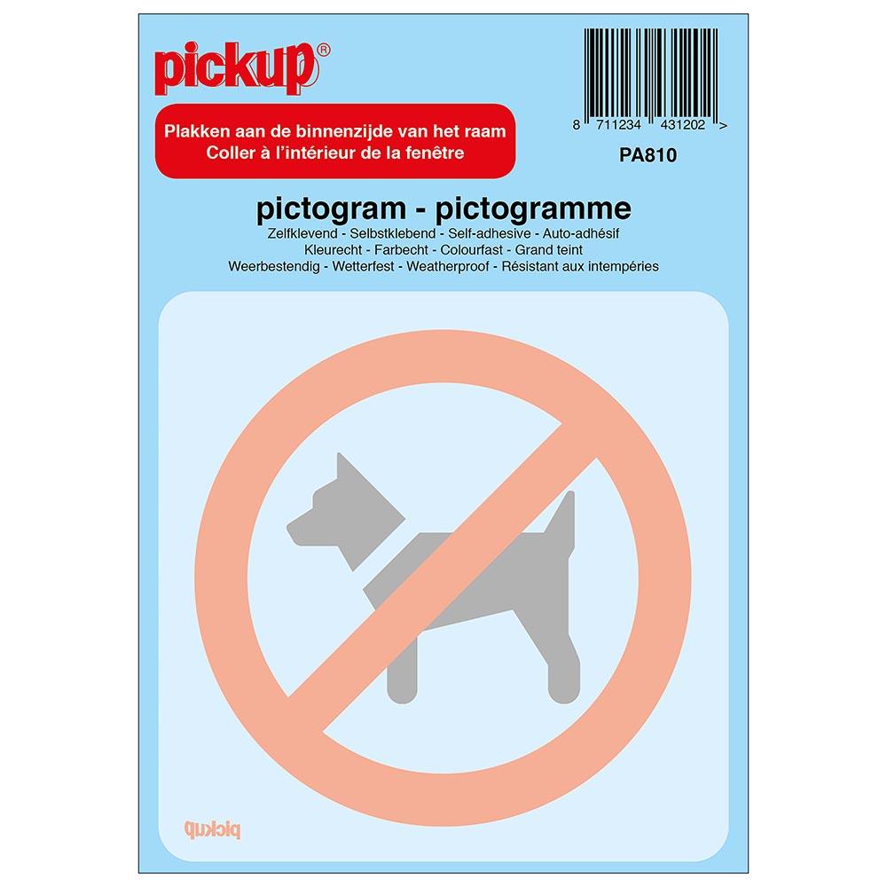 Pictogram achter glas 10x10cm - Verboden voor honden