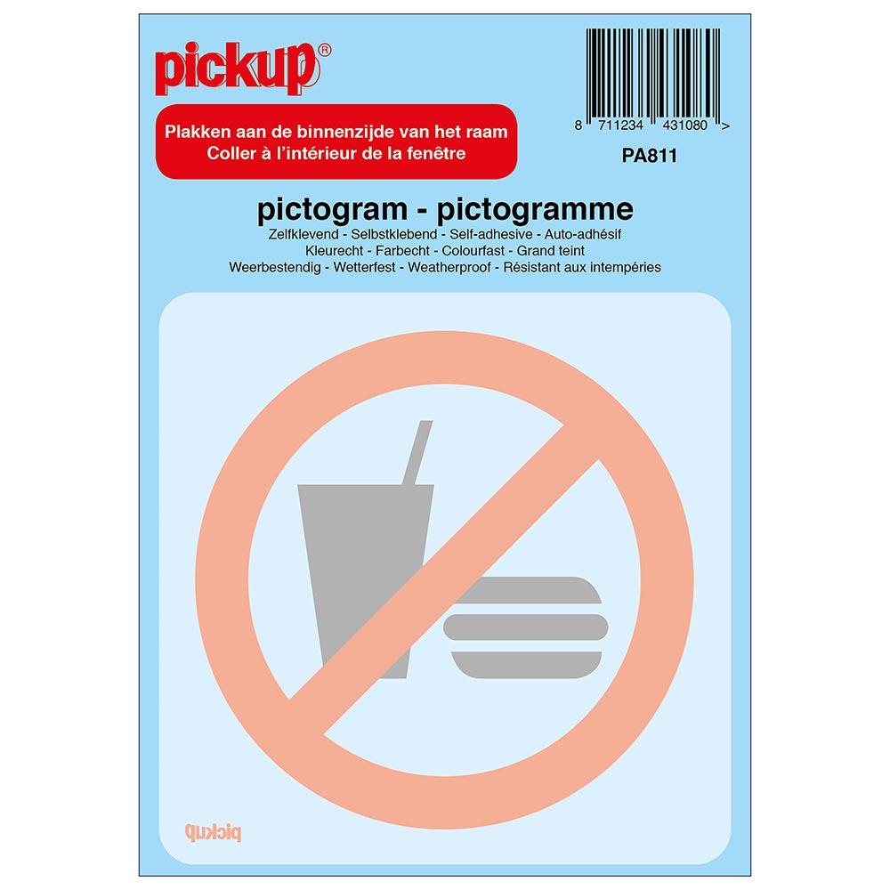 Pictogram achter glas 10x10cm - Verboden voor consumpties