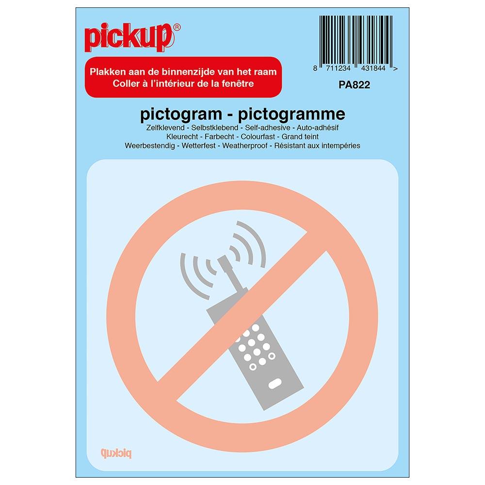 Pictogram achter glas 10x10cm - Verboden voor mobiele telefoons