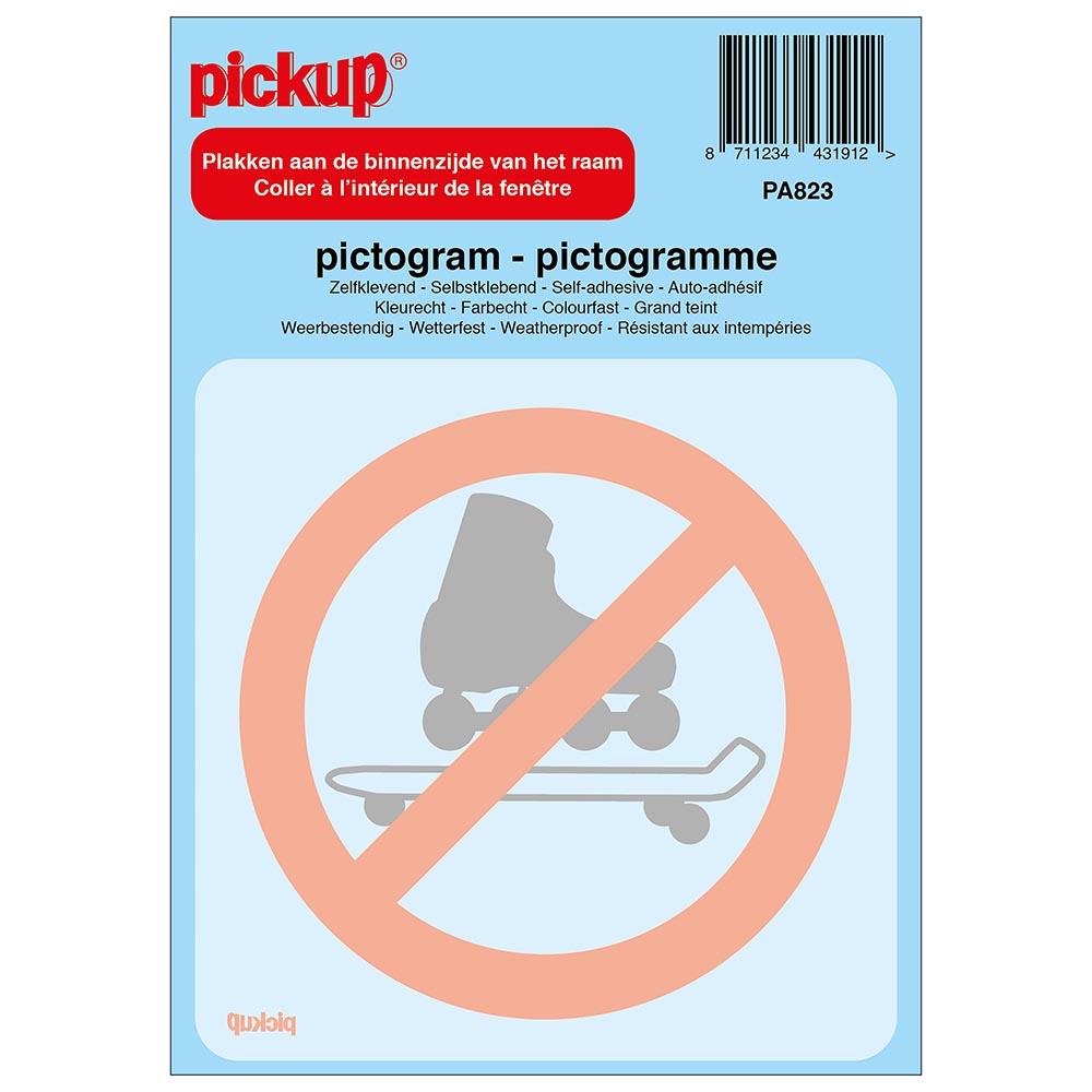 Pickup Pictogram achter glas 10x10 cm - Verboden voor rollerskates