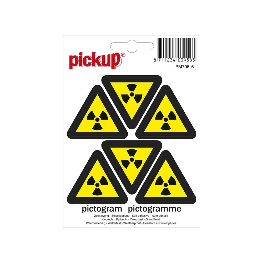 Mini picto's 4,5cm 6 per vel - Radioactieve stoffen